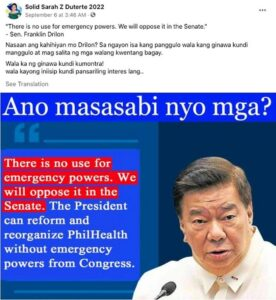Disinformation from a pro-Sara Duterte group targeting her father's critics
